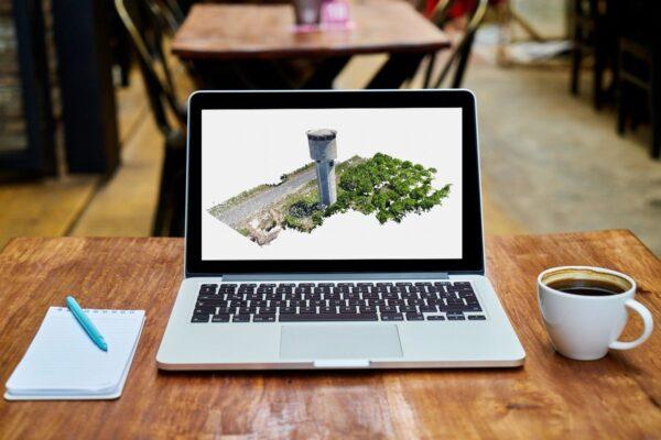 PC con Nuvola 3D di serbatoio idrico