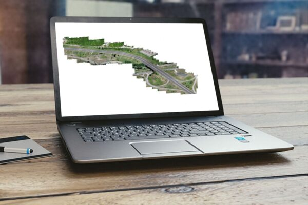PC con Nuvola 3D di strada con raccordi e incrocio